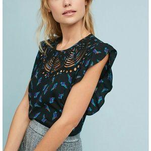 Ranna Gill Silk Fluttered Cutwork Silk Shirt